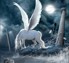 Forever Anchored in the Hades - hades, anchored, beautiful, moonlight, key, art, pegasus, pillar