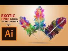 (1) Exotic cute Feather design Adobe illustrator CC 2017 tutorials - YouTube