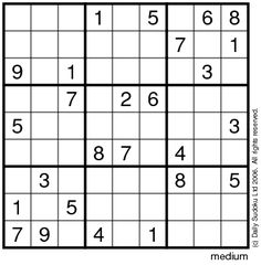 Printable Easy Sudoku on The Daily Sudoku