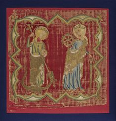 1320-1340, England. Panel from a Burse. Velvet, embroidered with silver and silver-gilt thread and silk.  The scenes are shown within barbed quatrefoils, the figures are St Margaret and St Catherine.