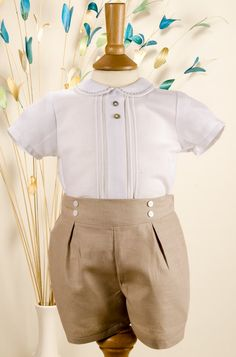baby #2 Paz Rodriguez Boys Beige & White Linen Cotton Shirt and Shorts/ Perfect to wear on sister's baptism.