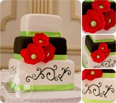 Black and white wedding cake with red ranunculus by The Cake Mom & Co.