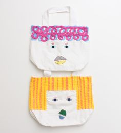 Fabulous face-bags! Must try this with some scrap fabric and fun felt pieces!