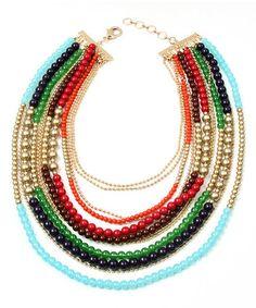 Look at this #zulilyfind! Gold & Red Soho Strand Necklace by Amrita Singh #zulilyfinds