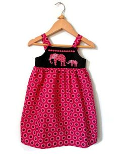 ShweShwe baby Toddler Dress hand embroidered with mummy and baby elephants by ANaif, €35.00