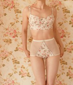 Handmade Vintage Garden Ivory Floral Soft Bra And High Waist Pantie Lingerie Set. Hand pattern cut and sewn in London to obtain an original and Belle Lingerie, Lingerie Couture, Lingerie Mignonne, Lingerie Vintage, Sewing Lingerie, Pretty Lingerie, Beautiful Lingerie, Sexy Lingerie, Cotton Lingerie