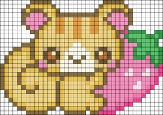 Free Kawaii Squirrel With Strawberry Hama Perler Bead Pattern or Cross Stitch Chart