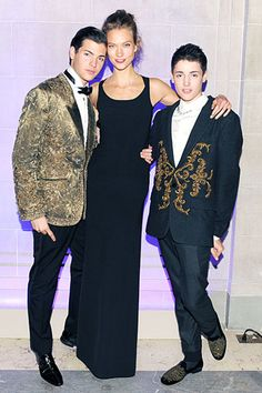 Peter Brant Jr. and Harry Brant in Dolce Men's FW13 with Karlie Kloss at the CR Fashion Book Launch Party