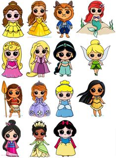 Nice Toutes les princesses Disney en kawaii The Effective Pictures We Offer You About Art Drawing quotes A quality picture can tell you many things. Kawaii Girl Drawings, Cute Disney Drawings, Cute Easy Drawings, Cartoon Drawings, Drawing Disney, People Drawings, Drawing Ariel, Tinkerbell Drawing, Unicorn Drawing