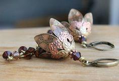 Flower Dangle Earrings Jewelry Gift Anniversary Gift by AmberSky