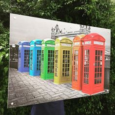 Float mounted poster of UK Phone Boxes just made for customer. #iposters #london #towerbridge #poster #phonebox #phonebooth