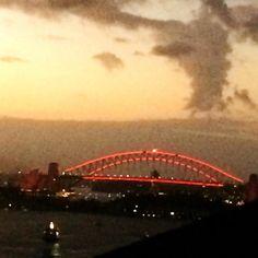 #sydneyharbourbridge all lit up in red for #chinesenewyear #sydney #australia #yearofthemonkey by lalitamathias http://ift.tt/1NRMbNv