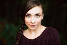 Portland senior photos taken against a dark forest background at Council Crest Park by Katy Weaver