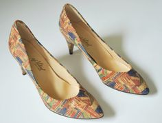 1980's High Heels, Geometric Print Shoes Size 7