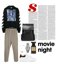 """""""Bring The Popcorn: Night In"""" by masekennb on Polyvore featuring Off-White, Rick Owens, Alexander McQueen, Yves Saint Laurent, Rolex, Maison Margiela, Tom Ford, men's fashion and menswear"""