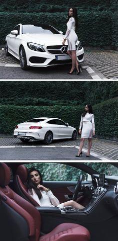 The Mercedes-Benz C-Class Coupé clearly pledges itself to stylish driving enjoyment. Photos via Drive4Fashion (http://drive4fashion.pl/).