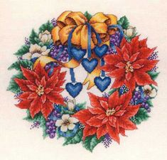 This is a lovely picture by Barbara Smith of a door wreath with flowers, berries, ribbons and hearts.