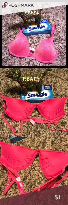 Pink pink bra Sparkling pink, very plush!! Hearts ♥️ on back straps 💕 Victoria's Secret Intimates & Sleepwear Bras