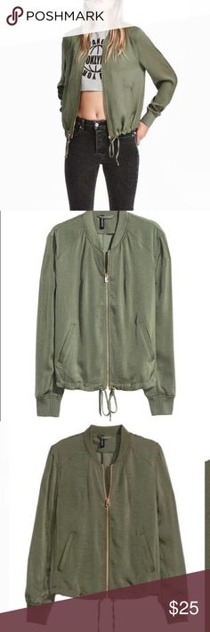 ⭐️ SALE ⭐️ Khaki Green Bomber Jacket Bomber jacket in airy satin fabric. Zip at front, side pockets, and drawstring at hem. Gold hardware. Ribbing at collar, cuffs, and hem. Unlined.  Worn once. H&M Jackets & Coats