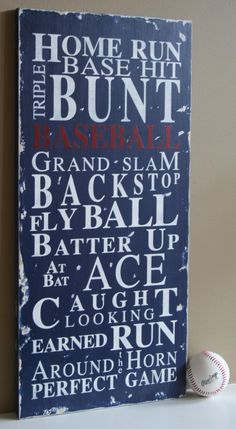 Baseball Typography Word Art Sign Take Me by barnowlprimitives. $95.00, via Etsy.
