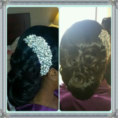 Nigerian Wedding Hair Jaclyn Irabor Hair and Makeup Design  Instagram : lovdiv84   Wedding hair for black women  Wedding hair for african American women