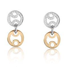 Roberto Coin Opera 18K White & Rose Gold Diamond Earrings 277890 #RobertoCoin