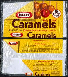 Kraft brand caramel wraps for apples.  Boy do I remember these.  I also remember the red candy glaze that one Halloween cost me a tooth.