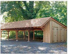Wood Carports - Timber Frame Carport in Wynncote, PA traditional garage and shed Carport Kits, Carport Garage, Carport Plans, Pergola Kits, Shed Design, Home Design, Garage Design, Barns Sheds, Pallet Projects