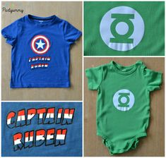 Tee shirt Captain America et Body Green Lantern home made Logo Batman, Captain America, Superman, Organiser, Tee Shirts, Superhero, Occasion, Capes, Point