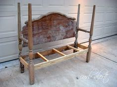 I cut the footboard in half, turned the spindles and attached them to the back spindles and built out the bench.