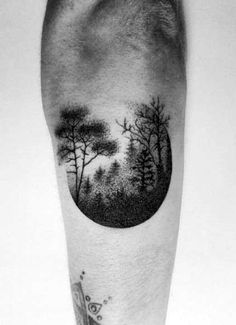Outer Forearm Male Circular Small Tree Forest Tattoo