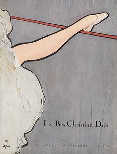 Christian Dior stockings ad by René Gruau. Slightly Degas.