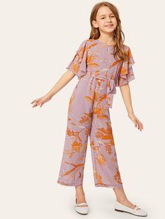 Girls Zip Back Layered Flutter Sleeve Belted Jumpsuit – Kidenhouse Girls Fashion Clothes, Kids Outfits Girls, Kids Fashion, Girl Outfits, Fashion Dresses, Cute Dresses, Girls Dresses, Jumpsuit For Kids, Jumpsuits For Girls