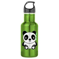 Panda with Bamboo 18oz Water Bottle