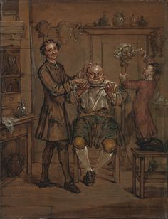 Marcellus Laroon the Younger, 1679–1772, British, The Barber, between 1760 and 1769, Oil on canvas, Yale Center for British Art, Paul Mellon Collection recto, unframed