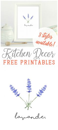 FREE Pretty Kitchen Art in French! via PeasyPrints.com Love these spice prints with French writing, so cute! Easy kitchen decor idea!