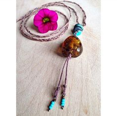 26 Genuine Amber & Turquoise Necklace on Braided by UrbanGypsyGems