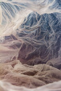 Plastic Bag Landscapes made with recycled plastics, lights & coloured backgrounds // Vilde Rolfsen #art
