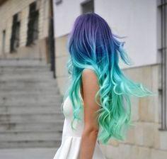 blue green violet hair