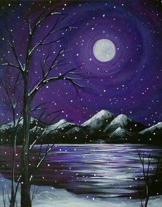 Canvas painting projects simple ideas 76 over 30 winter themed fun food ideas and easy crafts kids can make Canvas Painting Projects, Christmas Paintings On Canvas, Simple Canvas Paintings, Easy Canvas Painting, Winter Painting, Winter Art, Diy Painting, Painting & Drawing, Canvas Art