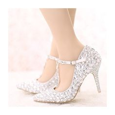 Women's Style Fashion T Strap Heels White Crystal T-strap Pointed Toe Stiletto Heels Glitter Wedding Shoes Fall Wedding Dresses Shoes Bridesmaid Dresses Shoes for Wedding, Big day, Red carpet | FSJ