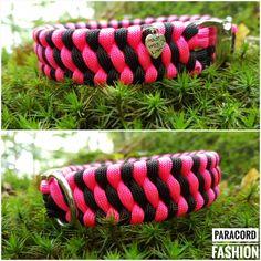 Halsband aus Paracord in pink und schwarz. Muster: Trilobite. #halsband #paracord #hundehalsband #collar #paracordhalsband #hunde #dogs #diy