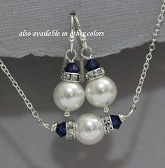 Maid of Honor Gift, Swarovski White Pearl and Dark Sapphire (Navy) Crystal Jewelry Set, Bridesmaid Jewelry, Bridesmaid Jewelry Set