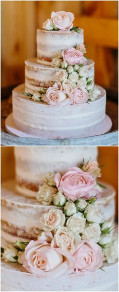 Naked wedding cake, rustic wedding, white and pink roses, three tiers // Marissa Kay Photography