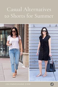 Don't like shorts? Here's what to wear instead. I rounded up a bunch of casual alternatives to shorts for you to consider this summer! There are some great fashion tips and tricks in this post for women over 40 that prefer to have more wardrobe options for the spring and summer. Summer Shorts Outfits, Short Outfits, Casual Outfits, Fashion Outfits, Fashion Tips, Fashion Trends, Everyday Outfits, Everyday Fashion, Fashion Over 40