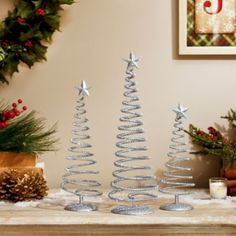 Sparkly Silver Swirl Trees, Set of 3 | Kirklands