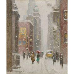 Картина (репродукция, постер): Winter's Day Along Nassau Street - Гай Карлетон Уиггинс - Купить за 1 923 руб. на InMyRoom.ru