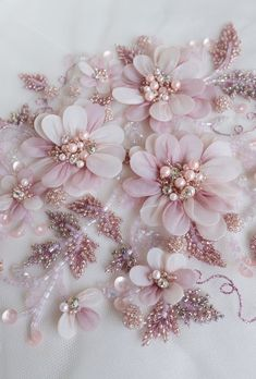 Sewing Fabric Flowers Hand-made motif with pearls, twinkling balls of glass beads and petals wrapped in silk organza - Couture Embroidery, Embroidery Fashion, Silk Ribbon Embroidery, Hand Embroidery, Embroidery Designs, Pearl Embroidery, Embroidered Lace, Embroidery Stitches, Lace Fabric