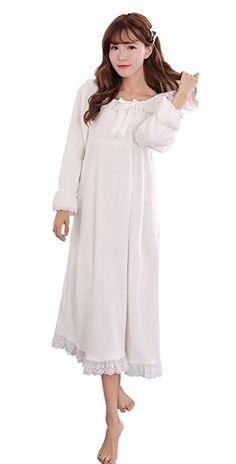 Soojun Women's Flannel Nighty Plush Bell Sleeve Victorian Nightgown, White