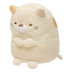 kawaii beige Sumikkogurashi cat with collar plush toy